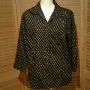 CHICO'S black ladies blouse small white print